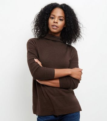 Dark Brown Funnel Neck Step Hem Boxy Jumper