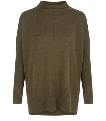 Dark Green Funnel Neck Step Hem Boxy Jumper