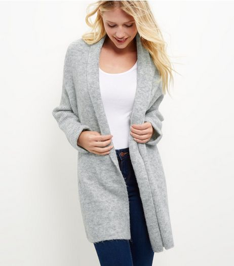 Pale Grey Shawl Collar Cardigan  | New Look