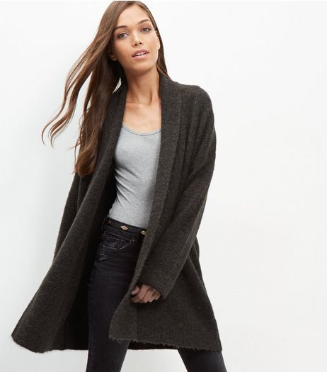 Dark Green Collared Longline Cardigan  | New Look