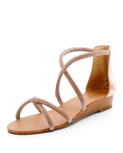 Bronze Leather-Look Diamante Cross Strap Sandals | New Look