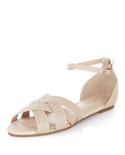 Stone Woven Cross Strap Sandals  | New Look