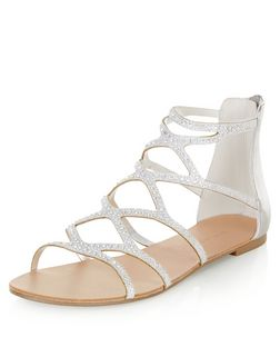 Silver Diamante Embellished Cut Out Sandals  | New Look