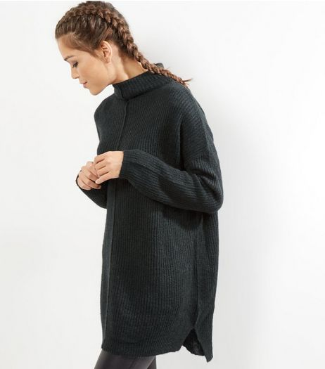 Dark Green Ribbed Funnel Neck Jumper  | New Look