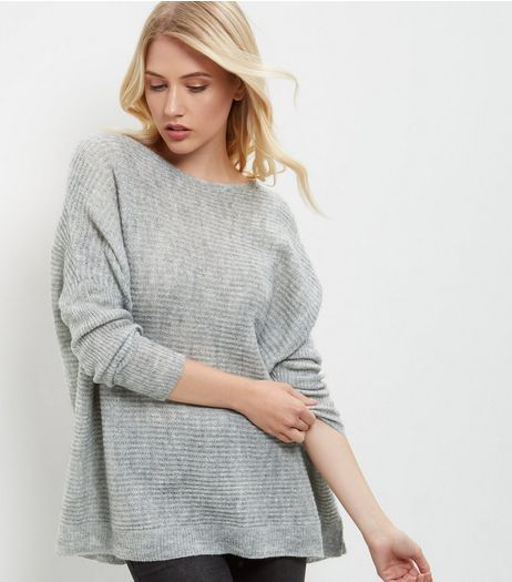 Grey Ribbed Boxy Jumper | New Look