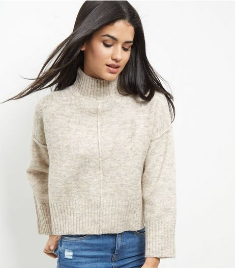 Cream Wide Sleeve Turtle Neck Cropped Jumper | New Look