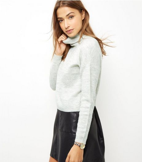 Pale Grey Funnel Neck Cropped Jumper  | New Look