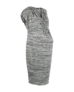 Maternity Grey V Neck Cap Sleeve Dress | New Look