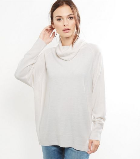 White Oversized Cowl Neck Long Sleeve Jumper | New Look
