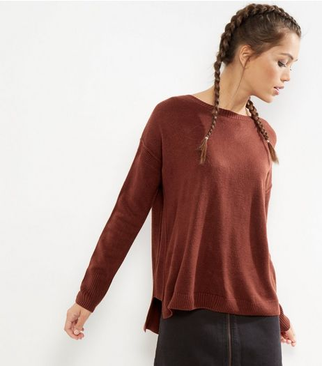 Brown Long Sleeve Boxy Jumper | New Look