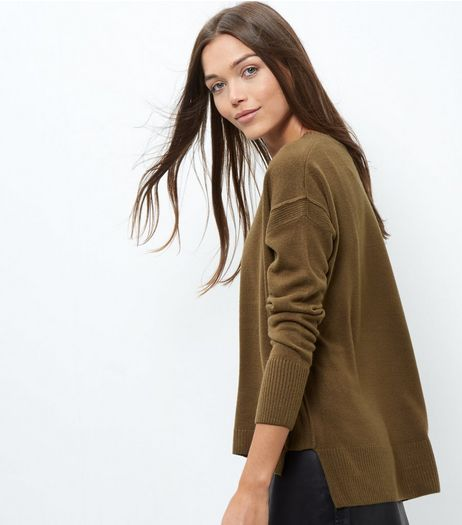 Khaki Ribbed Trim Boxy Jumper | New Look