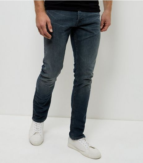Blue Grey Washed Slim Jeans  | New Look