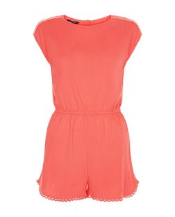 Teens Bright Pink Crochet Hem Playsuit | New Look