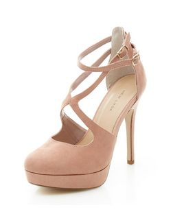 Stone Suedette Cross Strap Platform Heels | New Look
