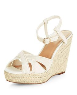 Cream Lace Espadrille Wedges  | New Look