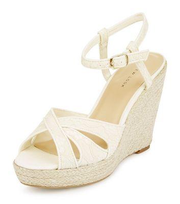 Sandalo  donna Cream Lace Espadrille Wedges