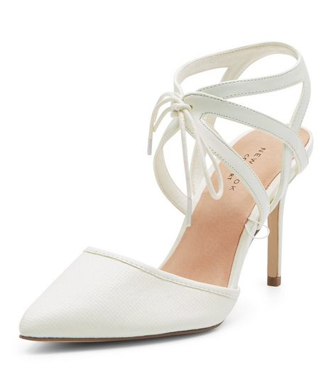 White Comfort Lace Up Pointed Heels  | New Look
