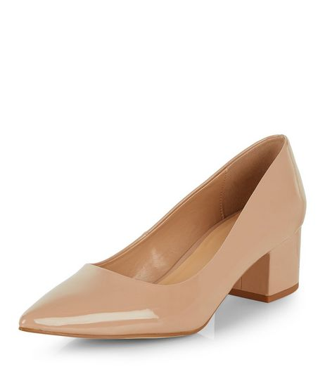Stone Patent Pointed Block Heels  | New Look