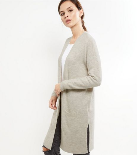Cream Ribbed Split Side Longline Cardigan | New Look