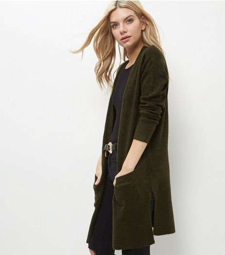 Khaki Ribbed Longline Cardigan  | New Look