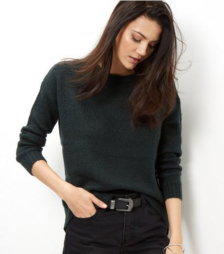 Dark Green Ribbed Trim Jumper | New Look