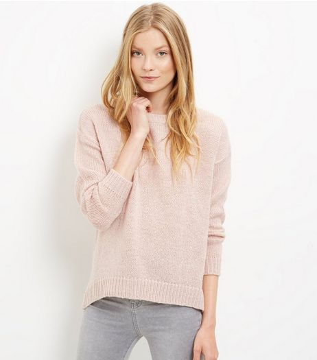 Pink Ribbed Trim Jumper | New Look