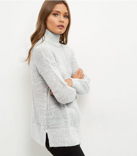 Pale Grey Turtle Neck Jumper  | New Look