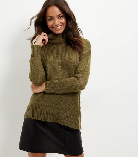 Khaki Turtle Neck Jumper  | New Look