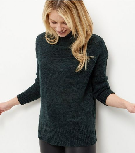 Dark Green Turtle Neck Jumper  | New Look