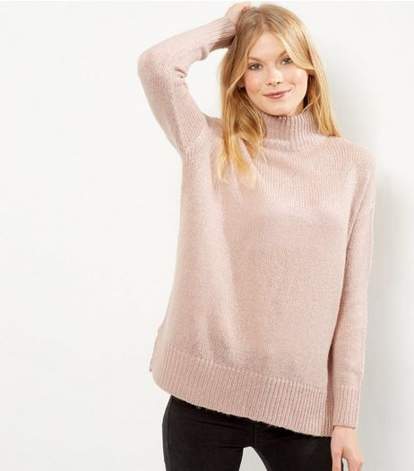 Pink Turtle Neck Jumper  | New Look