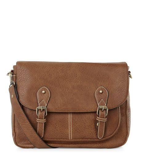 Tan Textured Satchel  | New Look