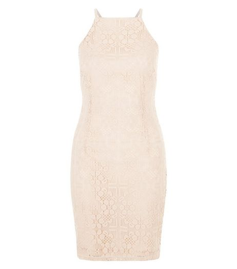 Shell Pink Lace High Neck Strappy Bodycon Dress  | New Look