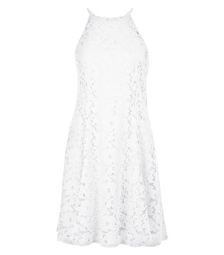 White Floral Flounce Lace Skater Dress  | New Look