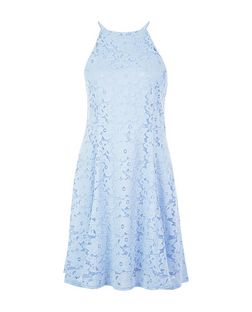 Light Blue Floral Flounce Lace Skater Dress  | New Look