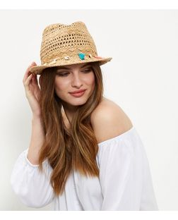 Stone Shell and Tassel Trim Trilby Straw Hat  | New Look