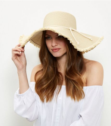 Stone Rope Trim Fray Hem Floppy Straw Hat  | New Look