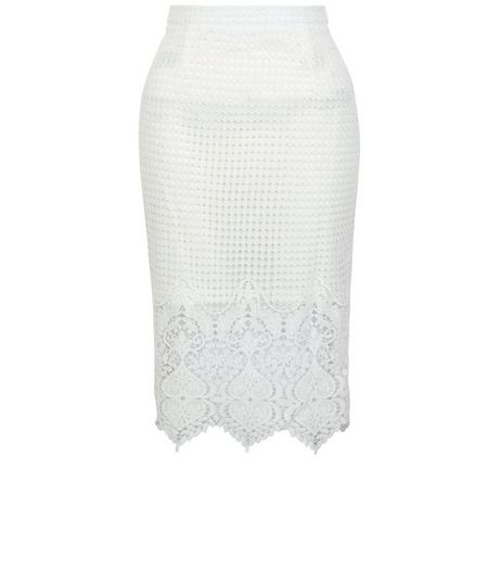 White Lace Scallop Hem Midi Skirt | New Look