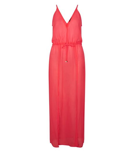 Pink Split Side V Neck Maxi Dress | New Look