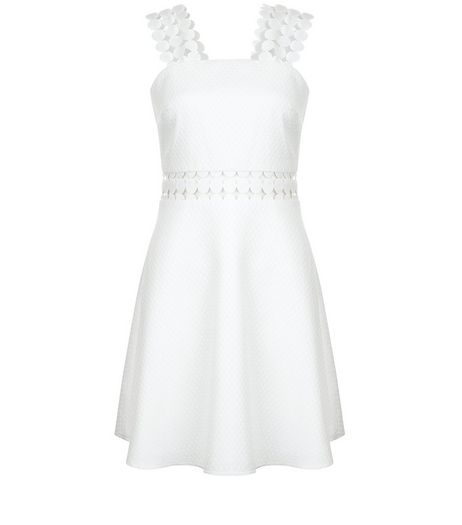 White Crochet Trim Skater Dress  | New Look