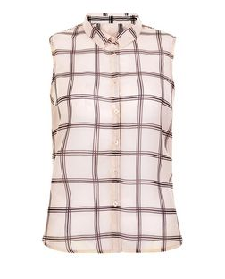 Innocence Pink Check Sleeveless Shirt | New Look