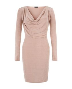 Pink Cowl Neck Long Sleeve Bodycon Dress  | New Look