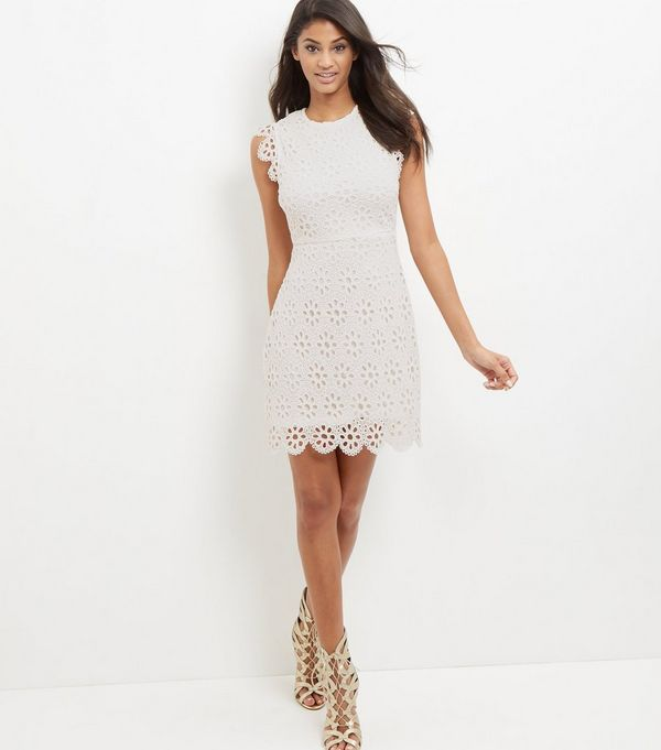 White Floral Lace Shift Dress