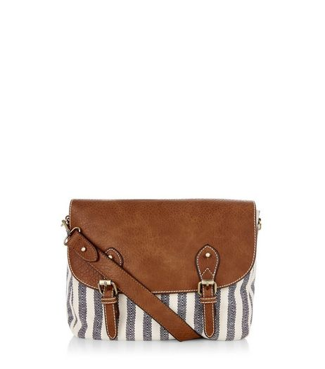 Tan Contrast Canvas Stripe Satchel  | New Look
