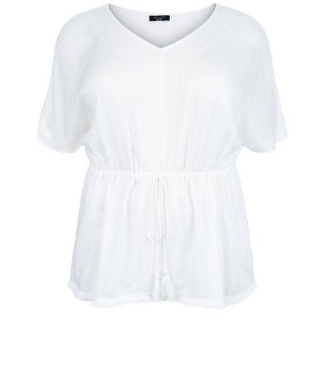 Curves White V Neck Tie Waist Top | New Look