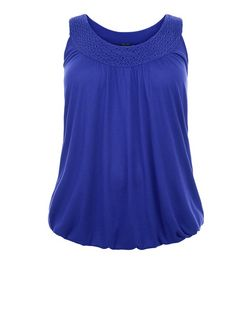 Plus Size Blue Crochet Trim Bubble Hem Vest  | New Look