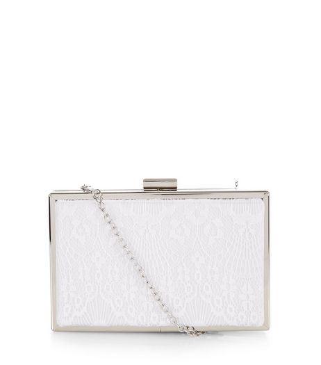 White Lace Box Clutch  | New Look