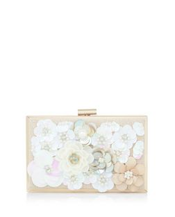 White 3D Flower Box Clutch | New Look