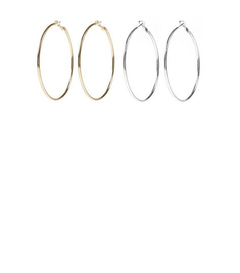 2 Pack Silver and Gold 60mm Hoop Earrings  | New Look