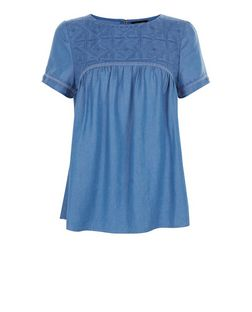 Blue Embroidered Panel Denim Smock T-Shirt  | New Look
