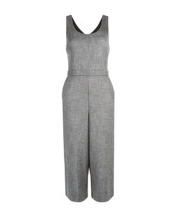 Grey Flecked Culotte Jumpsuit  | New Look
